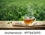 cup of hot tea and tea leaf on... | Shutterstock . vector #497662693