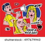 pop art style fashion patch...   Shutterstock .eps vector #497679943