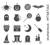 halloween flat icons set. black ... | Shutterstock .eps vector #497687263