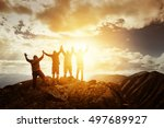 group of peoples on mountains... | Shutterstock . vector #497689927