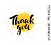 hand drawn thank you on yellow... | Shutterstock .eps vector #497690737