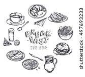 food breakfast menu flyer with... | Shutterstock .eps vector #497693233