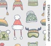 cute vector winter hats... | Shutterstock .eps vector #497694163