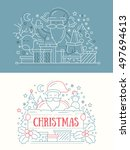 merry christmas and happy new... | Shutterstock .eps vector #497694613