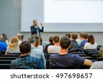 speaker giving a talk at... | Shutterstock . vector #497698657