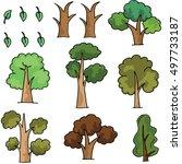 doodle of tree cartoon style... | Shutterstock .eps vector #497733187