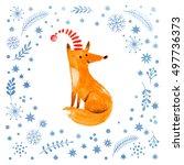 christmas watercolor... | Shutterstock . vector #497736373