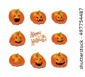 halloween set with pumpkins | Shutterstock .eps vector #497754487
