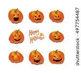 halloween set with pumpkins | Shutterstock .eps vector #497754487