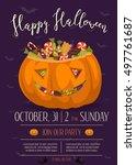 happy halloween party poster... | Shutterstock .eps vector #497761687