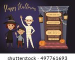 halloween party invitation with ...   Shutterstock .eps vector #497761693