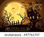 halloween party castle in... | Shutterstock .eps vector #497761747