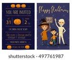 halloween night party... | Shutterstock .eps vector #497761987