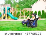 biracial ten year old disabled... | Shutterstock . vector #497765173