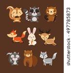 fox rabbit deer squirrel... | Shutterstock . vector #497785873
