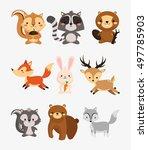 fox rabbit deer squirrel... | Shutterstock .eps vector #497785903