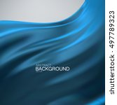 blue silk fabric. vector... | Shutterstock .eps vector #497789323