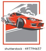 burnout car  japanese drift... | Shutterstock .eps vector #497794657