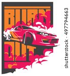 burnout car  japanese drift... | Shutterstock .eps vector #497794663