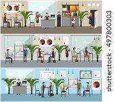 vector set of office interior... | Shutterstock .eps vector #497800303