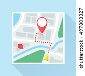 city map with location mark ... | Shutterstock .eps vector #497803327