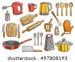 vector kitchen tools set.... | Shutterstock .eps vector #497808193