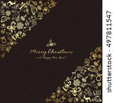golden christmas elements on... | Shutterstock . vector #497811547