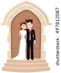 wedding couple posing at church ... | Shutterstock .eps vector #497812087