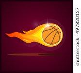 burning basketball....   Shutterstock .eps vector #497820127