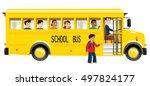 school bus and children. | Shutterstock .eps vector #497824177