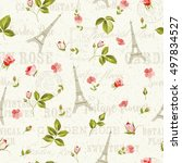pattern with red flowers ... | Shutterstock .eps vector #497834527