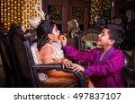 cute little indian siblings... | Shutterstock . vector #497837107
