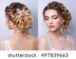 beautiful woman  bride with...   Shutterstock . vector #497839663