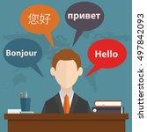 synchronic translation services ...   Shutterstock .eps vector #497842093