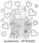 zendoodle design of a couple... | Shutterstock .eps vector #497842603