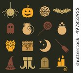 halloween colorful flat icons... | Shutterstock .eps vector #497852923