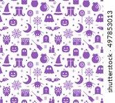 seamless halloween monochrome... | Shutterstock .eps vector #497853013