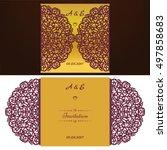 die cut wedding invitation card ...   Shutterstock .eps vector #497858683