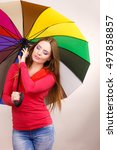 woman fashionable rainy smiling ... | Shutterstock . vector #497858857