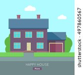 happy house banner poster...   Shutterstock .eps vector #497860567