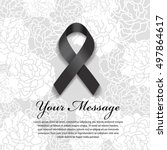 funeral card   black ribbon and ... | Shutterstock .eps vector #497864617