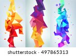 vector set of faceted 3d... | Shutterstock .eps vector #497865313