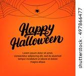happy halloween hand written... | Shutterstock .eps vector #497866477