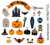 halloween vector clip art set.... | Shutterstock .eps vector #497867713