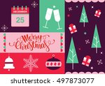 a set of christmas tress ... | Shutterstock .eps vector #497873077