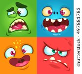 cartoon monster faces set.... | Shutterstock .eps vector #497881783