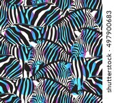 colorful zebra seamless pattern ... | Shutterstock .eps vector #497900683