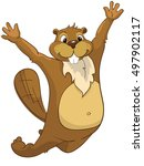 cartoon character beaver.... | Shutterstock . vector #497902117