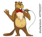 cartoon character beaver.... | Shutterstock . vector #497902297