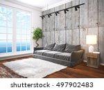 modern bright interior . 3d... | Shutterstock . vector #497902483